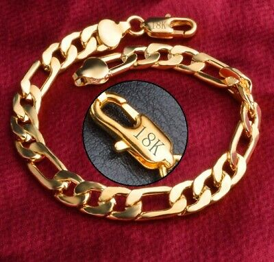 "18k Yellow Gold Mens Womens Cuban Curb Link Chain Bracelet 7"" 71/2"" 8"" Size D631"