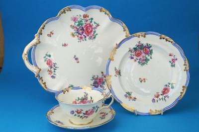c1915 GEORGE JONES Crescent Trio: Cup Saucer Plate + Cake Tray ROSES & STRIPES