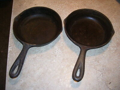 "Lot #1 Pair of Vintage Kitchen Cast Iron No. 3  6 5/8"" Skillets"