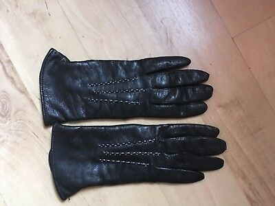 Vintage Morley Black Leather Gloves with Fleece Lining - Small