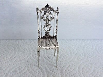 Antique S/Silver ( Large ) Miniature Chair by London Maker Barnet H Joseph 1889