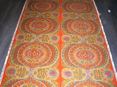 """Vintage 60s 70s Heals Jyoti Bhomik Pageant Moroccan style Cotton fabric 99"""" X48"""""""