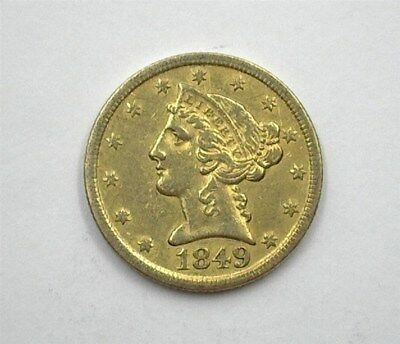 1849-D Liberty Head $5 Gold Half Eagle Choice About Uncirculated Rare!