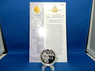 2003 Cayman Islands RHS Chelsea Flower Show $2 Proof Silver Coin