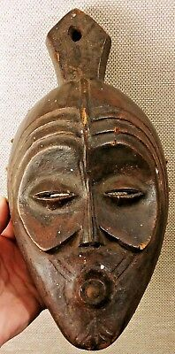 Vintage AFRICAN Lady SLANT EYE Old TONGUE OUT Wood CARVED Statue TRIBAL ART MASK