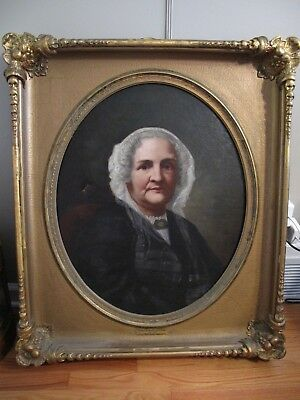 Antique 19th Century OIL PAINTING PORTRAIT of a Lady on Canvas Heavy Gilt Frame