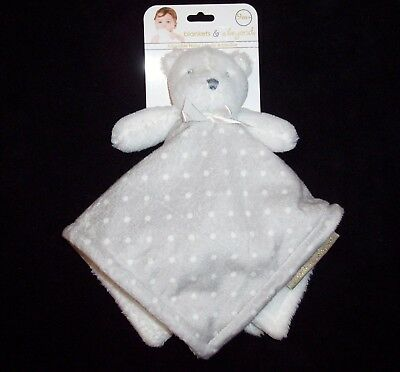 NEW Blankets & and Beyond Bear Baby Blanket Grey White Polka Dot Security Lovey