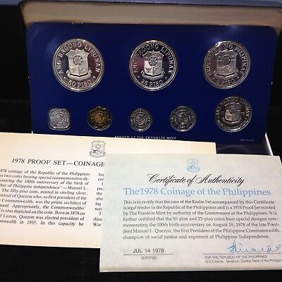 1979 Philippines - 8 Coin Proof Set ( 2 Silver ) ASW Total 1.21 oz