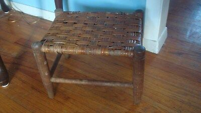 Vintage 1920's Wicker and Wood Stool