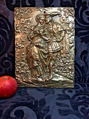 stunning large antique English heavy cast solid brass plaque picture Tudor
