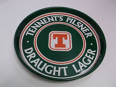 Tennent's Pilsner Draught Lager Beer Tray Metal 12 inch Round Scotland Brewery