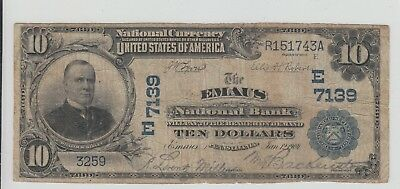 New Rare Discovery $10 1902 Emaus Pennsylvania National Charter 7139 Date Back