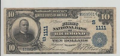 $10 1902 Richmond Virginia National Charter 1111 Date Back