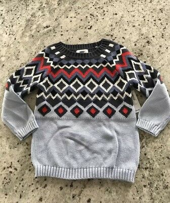 NWT Old Navy  Girl's Crew Neck Cotton Pull On Sweater Blue SZ:5 Y $24.94