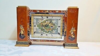 Rare Antique Hand Painted Chinoiserie Chinese 8 Day Mantel Clock Bracket Clock