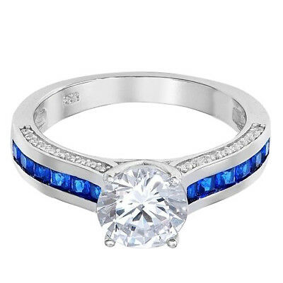 Brilliant Round Solitaire with Blue Sapphire Princess CZ Sterling Silver Ring