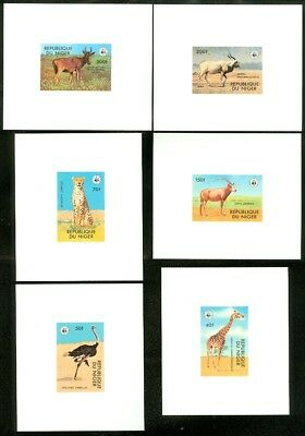 EDW1949SELL : NIGER Scarce WWF set of 6 different Deluxe sheets. All VF, Mint NH