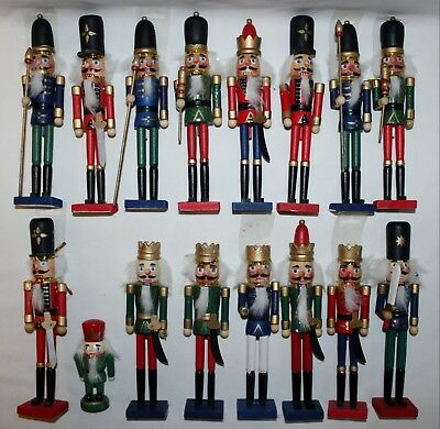 "Vintage Christmas Decor 9"" Greenbriar Wood Nutcracker Lot Of 16 ~ King ~ Knight"