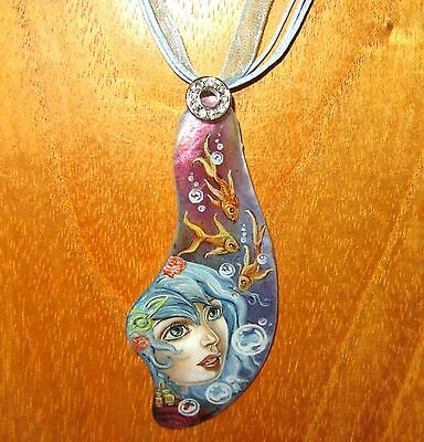 Pendant Shell Genuine Russian hand painted MERMAID Fairy Tale Mythical Creature