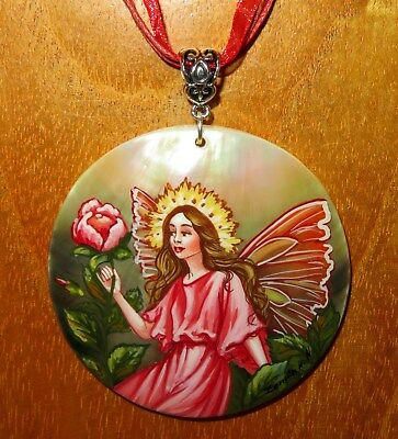 Pendant Shell Genuine Russian hand painted The Wild Rose Flower Fairy GIFT