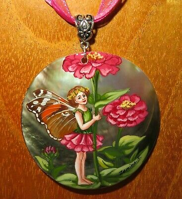 FLOWER FAIRY Pendant Genuine Russian Hand Painted Shell Zinnia GIRL signed GIFT