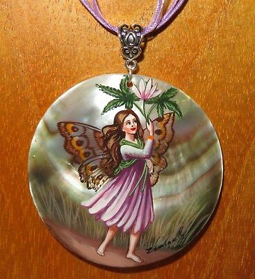 Pendant Shell Genuine Russian Hand Painted The Windflower Flower Fairy signed