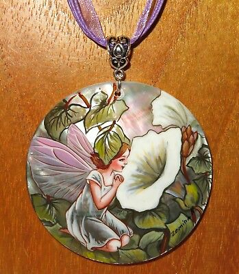 SHELL pendant The White Bindweed Fairy signed GIFT Genuine Russian hand painted
