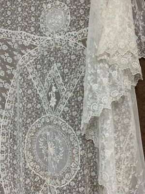 Antique French Normandy Tambour NET Lace BEDSPREAD Coverlet #2
