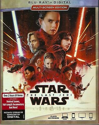 STAR WARS THE LAST JEDI BLURAY & DIGITAL SET with Mark Hamill & Carrie Fisher