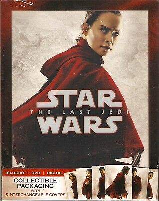 STAR WARS THE LAST JEDI BLURAY & DVD & DIGITAL SET with 6 COLLECTIBLE SLIPCOVERS