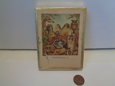 Vintage Antioch Bookplates Jungle Animals Open Box of 42 Gummed Labels In Box