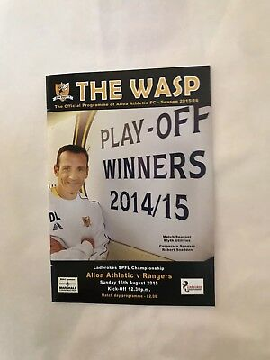 Alloa   v Rangers League Aug  2015 Programme