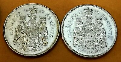 Lot of 2 MS65 1966 1965 Consecutive Canadian Silver Half Dollar 50 Cent Coins