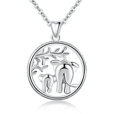 "Silver Necklace, 925 Sterling Lucky Elephant""Family Love"" Pendant Mother and..."