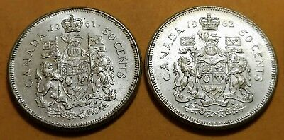 Lot of 2 MS65 1962 1961 Consecutive Canadian Silver Half Dollar 50 Cent Coins