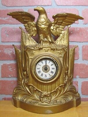 Antique Cast Iron SPREAD WINGED EAGLE SHIELD AMERICAN FLAGS Decorative Art Clock