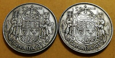 Lot of 2 AU50 1952 1951 Consecutive Canadian Silver Half Dollar 50 Cent Coins