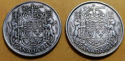 Lot of 2 XF45 1944 1943 Consecutive Canadian Silver Half Dollar 50 Cent Coins