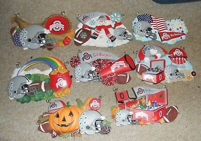Lot Of 8 OHIO STATE BUCKEYES Danbury Mint Ornaments-Winter, Summer, Fall, & More