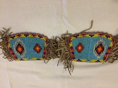 Vintage Native American Indian Child's Cut Bead Buckskin Arm Bands
