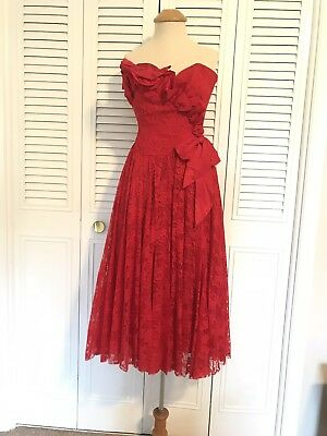 Vintage Red Strapless Lace Formal 80s Prom Dress Size 5 6 Bow Ruffles Holiday