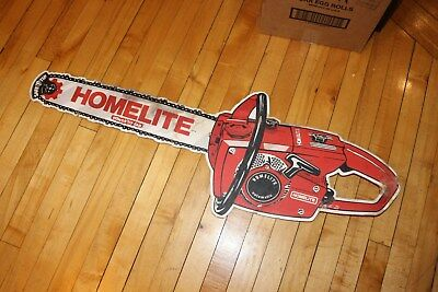 Vintage Advertising Homelite Chain Saw Dealer Double Sided Hanging Sign