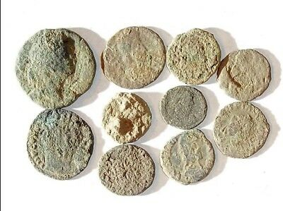 10 ANCIENT ROMAN COINS AE3 - Uncleaned and As Found! - Unique Lot X30029