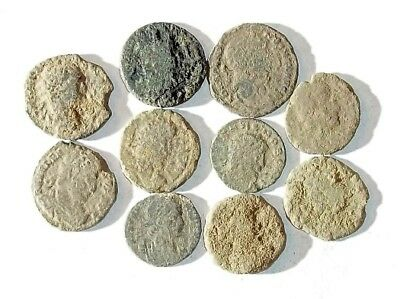 10 ANCIENT ROMAN COINS AE3 - Uncleaned and As Found! - Unique Lot 30002