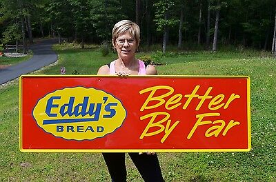 """Vintage 54"""" Eddy's Bread Embossed Heavy Metal Dairy Sign Minty Rare Collectable!"""