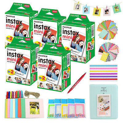 Fujifilm Instax Mini 8 9 White Film Polariod 300 Photos Sheets + Album + 10 Kits