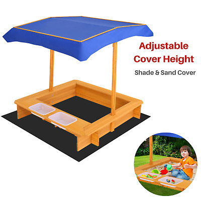 Outdoor Wooden Sand Pit Adjust Shade Cover Sandpit Canopy Water Basin Toy Kids