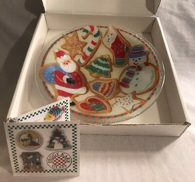 """Peggy Karr Fused Art Glass Christmas Cookies  Gingerbread 11"""" Bowl Signed Dated"""