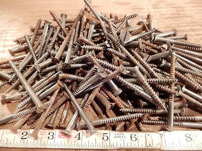 antique wood screws vintage furniture fastener large mixed lot flat head slotted