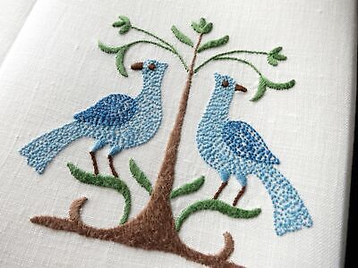 Blue Pheasants Vintage Madeira Embroidered Linen Guest Hand Towels - Set of 2